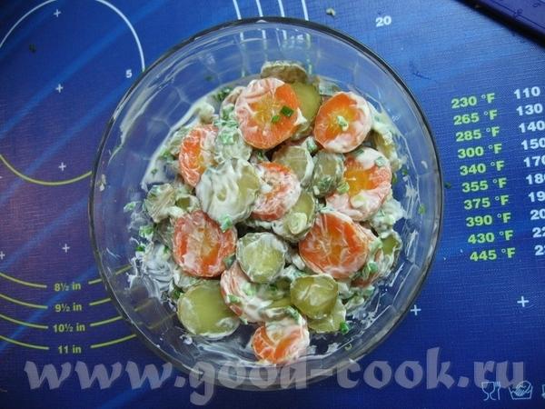 и мои салатики от Яночки - отварная морковь (кружочками) + маринованный огурчик + мелко нарезанный... - 2