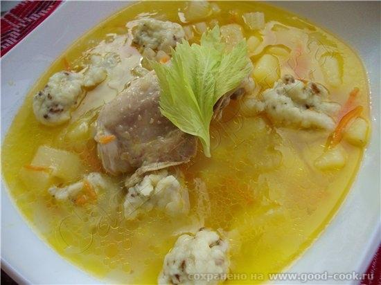 15/100 рецептов из курицы Куриный суп с клецками и сельдереем 2 литра воды 3 куриных бедрышка 1 лук... - 2