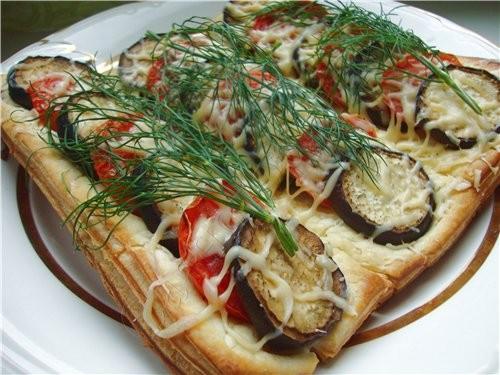 Слойки с баклажанами и помидорами под сыром слоеное тесто баклажан помидоры сыр соль перец укроп р - 3