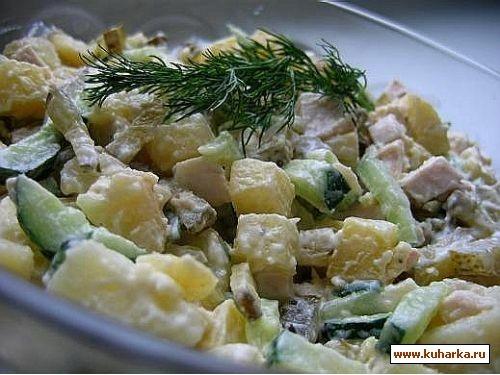салат 1 куриная грудка готовая(тушеная,я покупаю готовые в Ашане) 4-5 штук отваренного в кожуре кар...