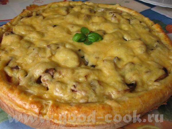 Пицца грибная с сырным бортиком Ингредиенты: - тесто для пиццы творожное - 1 помидор - 1 сладкий пе...