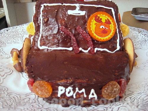 """Торт """"Машинка"""" Я делала по рецепту """"Панчо"""", но можно любой торт так оформить - 4"""