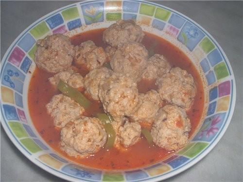 Ужин Тефтельки Кабачки в остром сметанном соусе