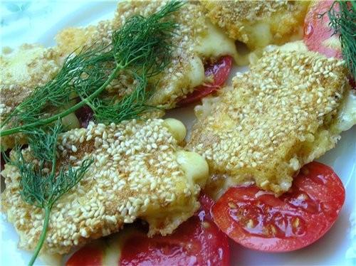 Сыр, жареный в панировке из кунжута - 2