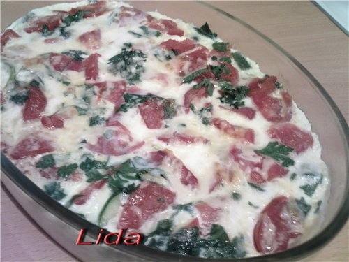 Запеканка омлет с кабачками,помидорами и сыром - 2