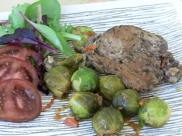 Спасибо Нелечке за Утиный Конфи с Бруссельской Капустой -вкусное сытное блюдо