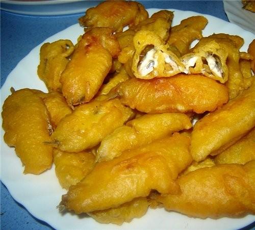 Boquerones aliсados rebozados en harina de tempura Анчоусы в кляре анчоусы - 500 г соль, черный пер...