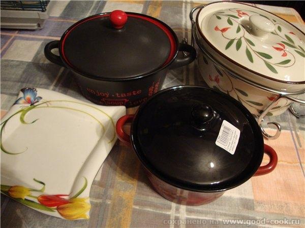 я тут еще маленько прикупилась фоткала вечером, посуда только с упаковки, пыльная черные горшочки р...
