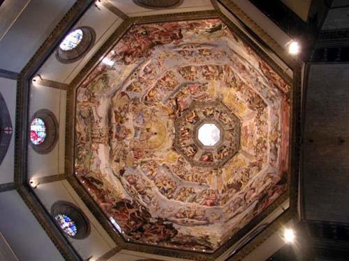 Фрески на куполе внутри - Виды на Флоренцию с Пиацца Микеланжело