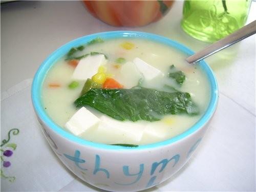 Китайский суп со Шпинатом и мягким Тофу