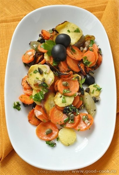 Салат из запеченых пастернака, моркови и шалота с оливковым релишем Этот салат я нашла у Марты Стюарт