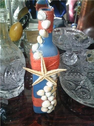 Бутылка Морская Бутылка окрашена клей ПВА с добавлением школьных красок, нанесено тампоном в нескол...