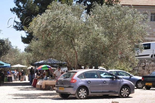 На просторной поляне,слева от монастыря, среди оливковых деревьев, расположились продавцы сувениров...