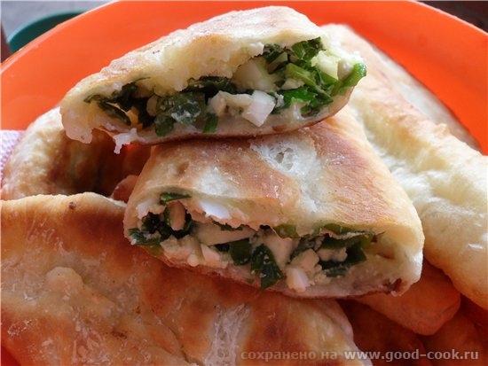 Шпигачки на мангале с овощным салатом Грибы в сметане Пирожки с луком и яйцом - 3