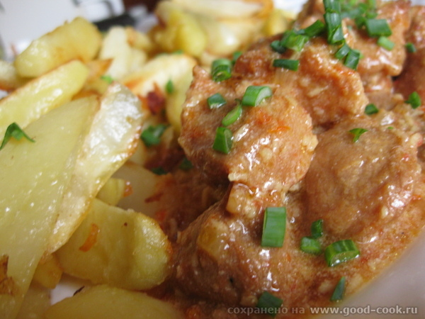 Салат норвежский Пряная говядина с кокосом от Наташи Подавала с картошкой жареной на листе - 3
