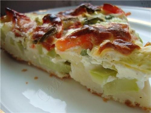 Пирог с цуккини тесто 100 грамм маргарина (масла) 2 яйца 2 столовые ложки сметаны щепотка соли мука... - 2