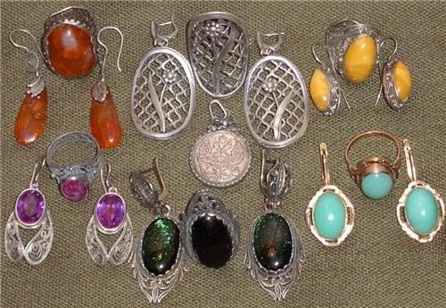 Коллекция от моего ювелира: светлый янтарь, серебро, молочный янтарь, александрит, зеленый авантюри...