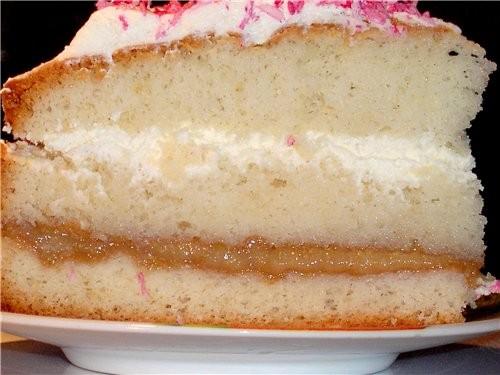 """Тортик из серии """"Гости на пороге"""" - бисквит, фейхоа с сахаром был и взбитые сливки приятельницам пр..."""