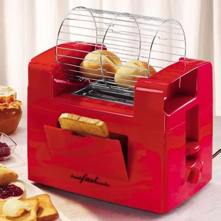 В верхней части тостера размещается специальная корзинка для булочек, которая вращается, равномерно...
