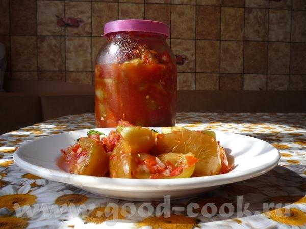 салат из зеленых и бурых помидор на ведро помидор 12-14 шт болгарского перца, 3-4горького перца, по...