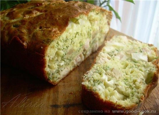 Кейк с сыром, грибами и зеленью