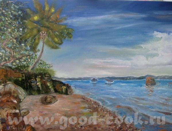 А я взяла и переписала свою картину с пальмой и морем, хотела мазками, короче по-моему, испортила
