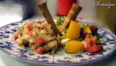Вот как мы обедали в воскресенье вечером: Чахохбили от Masya (только я не стала зажаривать курицу п...