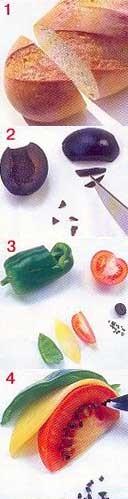 Нам потребуется: Хлеб Помидор Зеленый сладкий перец Сыр Черная маслина Сливочное масло Петрушка - 3