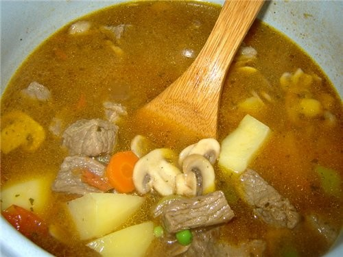 Масло оливковое наливаем, разогреваем и добавляем куски мяса (соль, перец) обжариваем мясо до румян... - 5