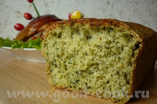 """Зеленый хлеб со шпинатом Фото мое, а рецепт с кукинга в немецкой темке от Iden: """"Замороженный сливо..."""