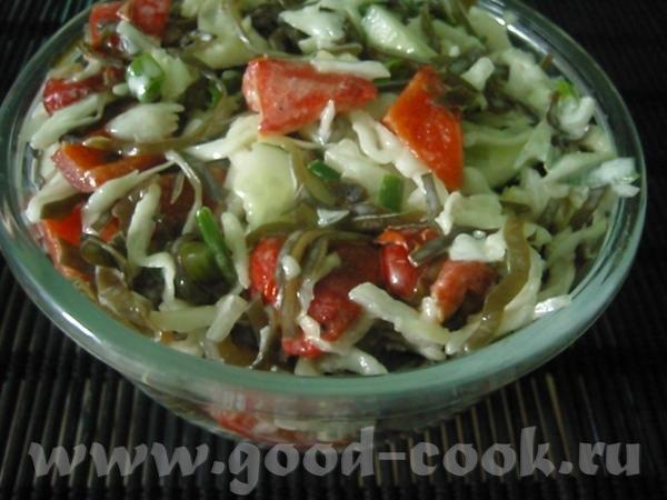 Салат из белокочанной капусты и морской капусты Необходимые продукты: капуста белокочанная - 300 г...