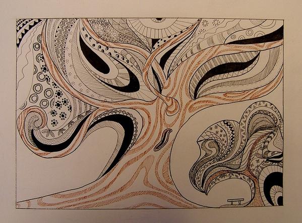 Нарисовала картинку капиллярной ручкой, в подарок подруге