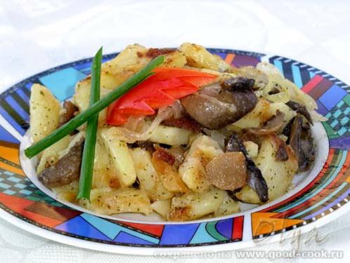 Жареная картошка с грибами 4 картофелины 1 банка гибов-шампиньоны, лучше свежие