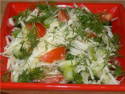 Сегодня мы готовили Kasseler Nacken -ЗАПЕЧЁННЫЙ Овощной салатик с Кольраби Кольраби очистить, натер... - 3