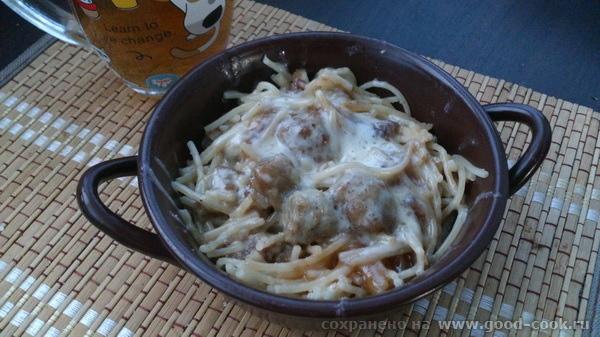 спагетти с фаршем под сыром