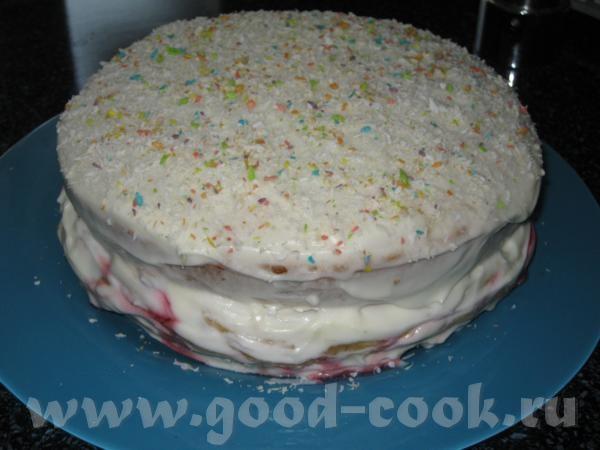 Вишнёвый торт с бананом тесто: 2 яйца,200 г сметаны,1,5 стакана муки,2 ч