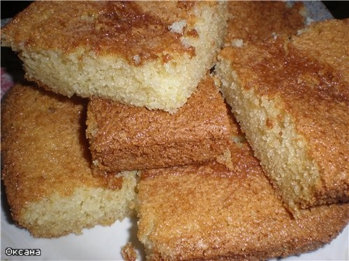 Домашний тортик или манник 1 стакан манной крупы 1 стакан сахара 1 стакан сметаны 1 яйцо 1/4 ч