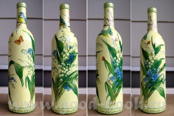 """Бутылка """"Весна"""" Стекляная бутылка с вином, грунт, акрил, фрагменты 3-х салфеток, клей, акриловый ла..."""