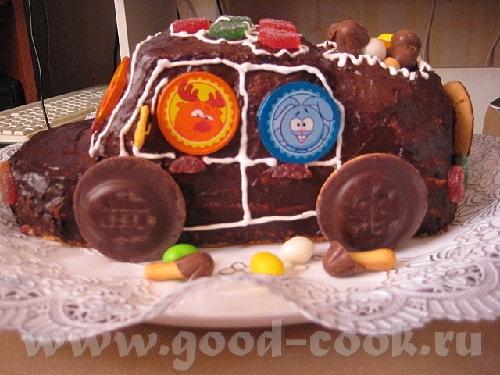 """Торт """"Машинка"""" Я делала по рецепту """"Панчо"""", но можно любой торт так оформить - 2"""