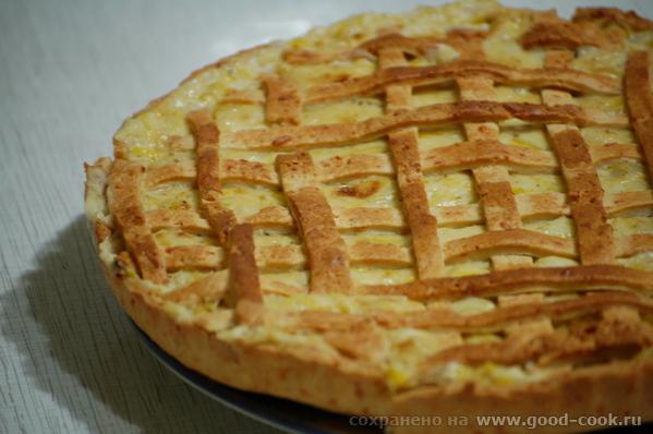 Замечательный пирог из песочного теста с сырным ароматом и пикантным вкусом, с мягкой начинкой и сл... - 3