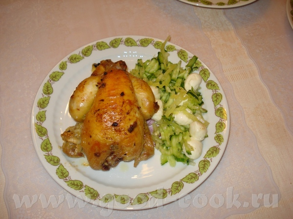 Итого: Цыплята, масло оливковое, чеснок, соль с базиликом и томатом - 7