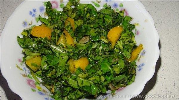 Весьма необычный салат на любителя Мятный салат с роккой 2 пучка рокки 1 пучок мяты 1 жёлтый перец 4 пера зелёного лука...