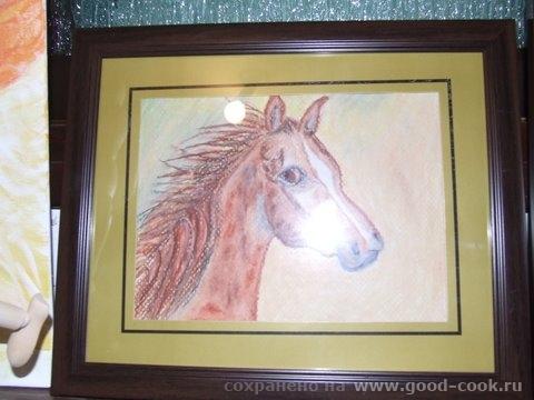 Лошадка пастель бумага