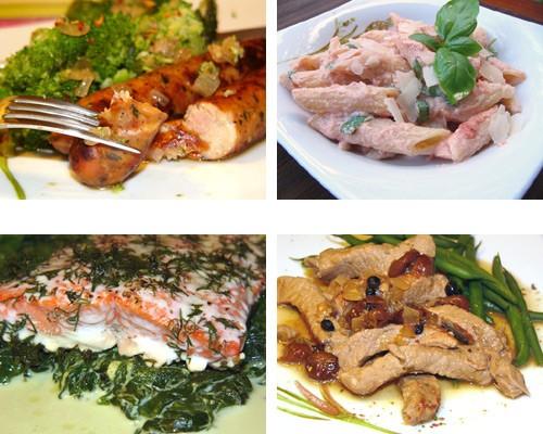 Ужин за 30 минут Свинина в соусе из Камaмбера Рыба в соусе из кокосового молока Сосиски с брокколи...