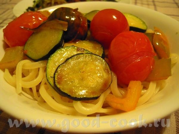 Макароны с овощами 350 г тальятеле,фузилли, или других макаронов 300 г помидоров черри 4 ст