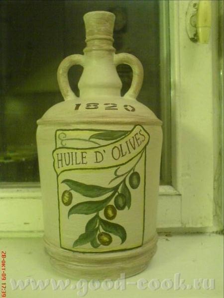 Пока в раздумьях по поводу натюрморта, от безделия раскрасила бутылку