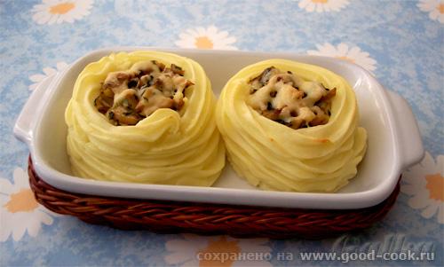 Картофельные гнезда с фаршем рецепт с фото