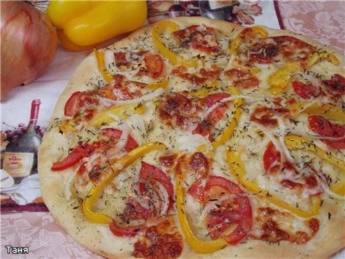 Фокачча с перцем,помидором и моцареллой