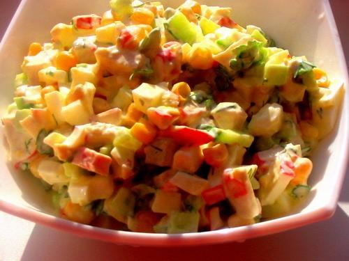 перчики фаршированные с овощами и салатик Крабовый - 2