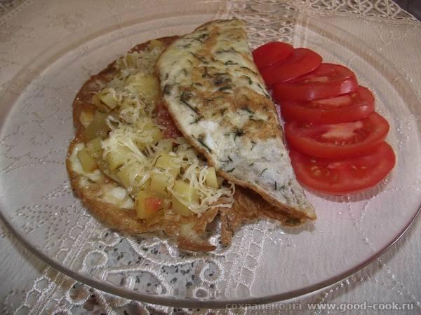 «Овощи, тушенные с орегано и майораном, в яичном блинчике»